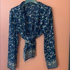Black and cream rose print blouse size M